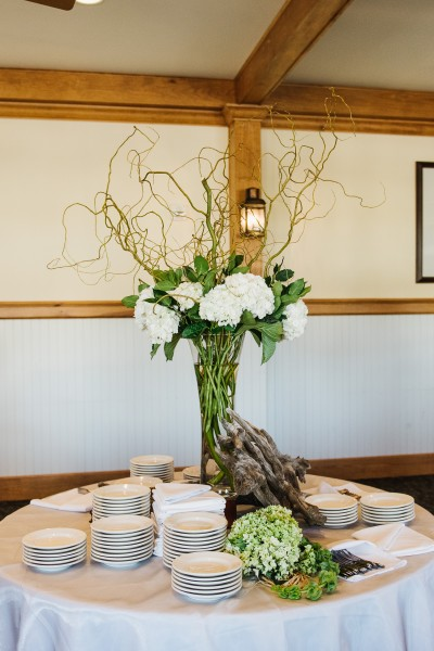 The hydrangeas and driftwood table décor gave a rustic, yet elegant feel to the reception.